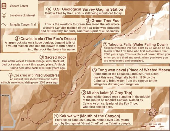 Map of Tahquitz Canyon destinations