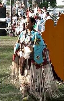 Delmarina One Feather in stolen dance regalia