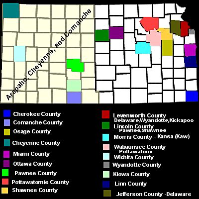 Map of counties in Kansas where indian tribes live or previously lived