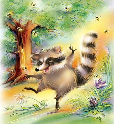 Raccoon and the Bee tree
